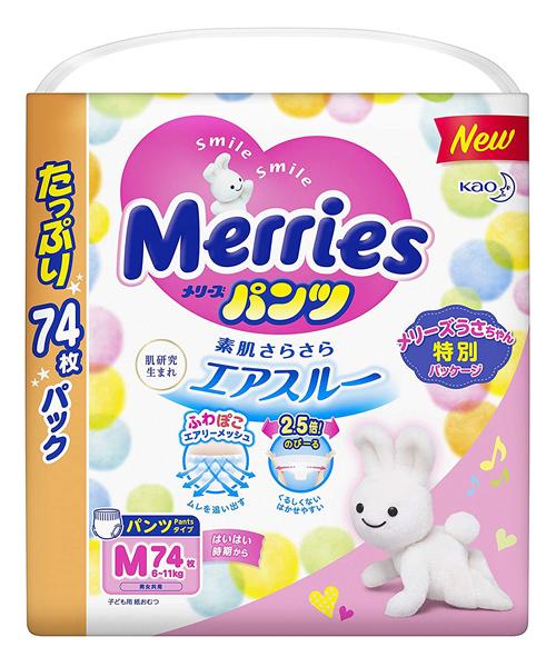 Japanese Pants Merries, M, 6-11 kg, 58+16 pcs.
