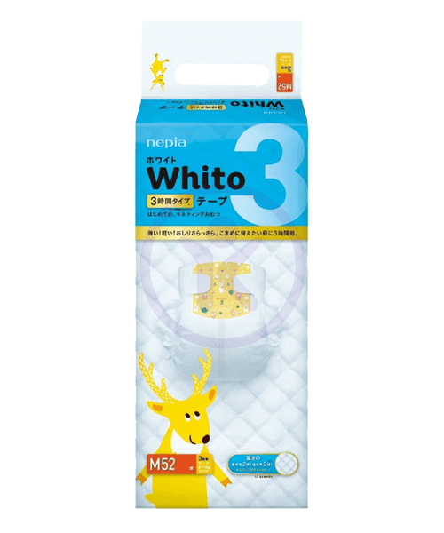 Japanese Diapers Whito, M, 6-11 kg, 3h (day time), 52 pcs.