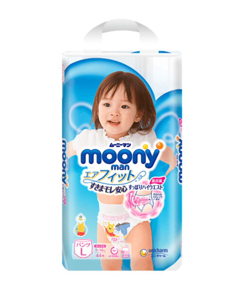 Japanese Pants Moony, L, 9-14 kg, for Girls, 44+10 pcs.