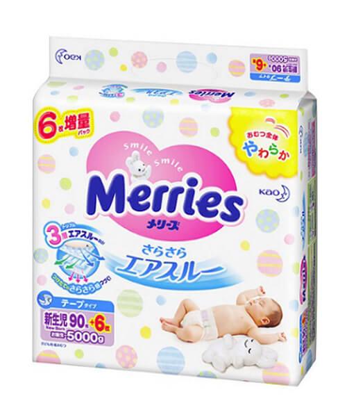 Japanese Diapers Merries, NB, 0-5 kg, 90 pcs.