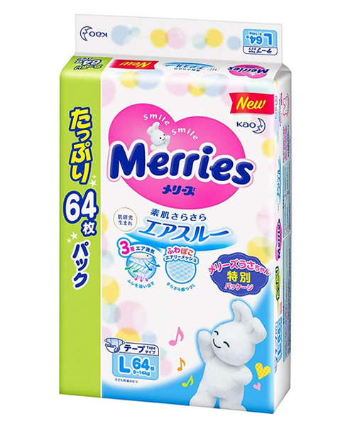 Japanese Diapers Merries, L, 9-14 kg, 54+10 pcs.
