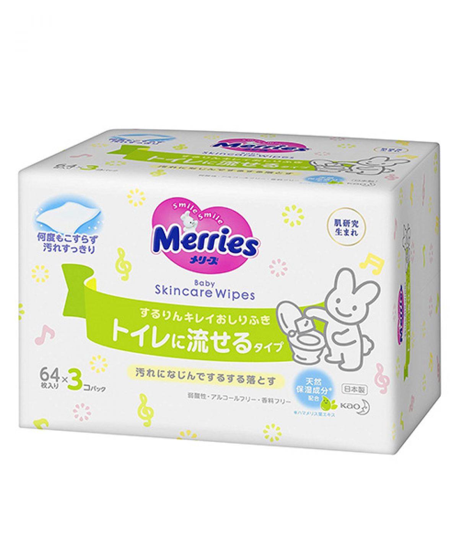 Japanese Wet Wipes Merries (Toilet Flushable) , 3×64 pcs.