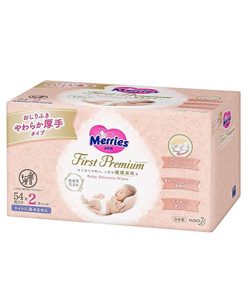 Japanese Wet Wipes Merries First Premium, 2×54 pcs.