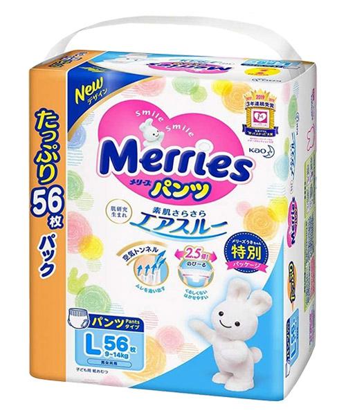 Japanese Pants Merries, L, 9-14 kg, 44+12 pcs.