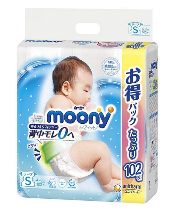 Japanese Diapers Moony, S, 4-8 kg, 84+18 pcs.