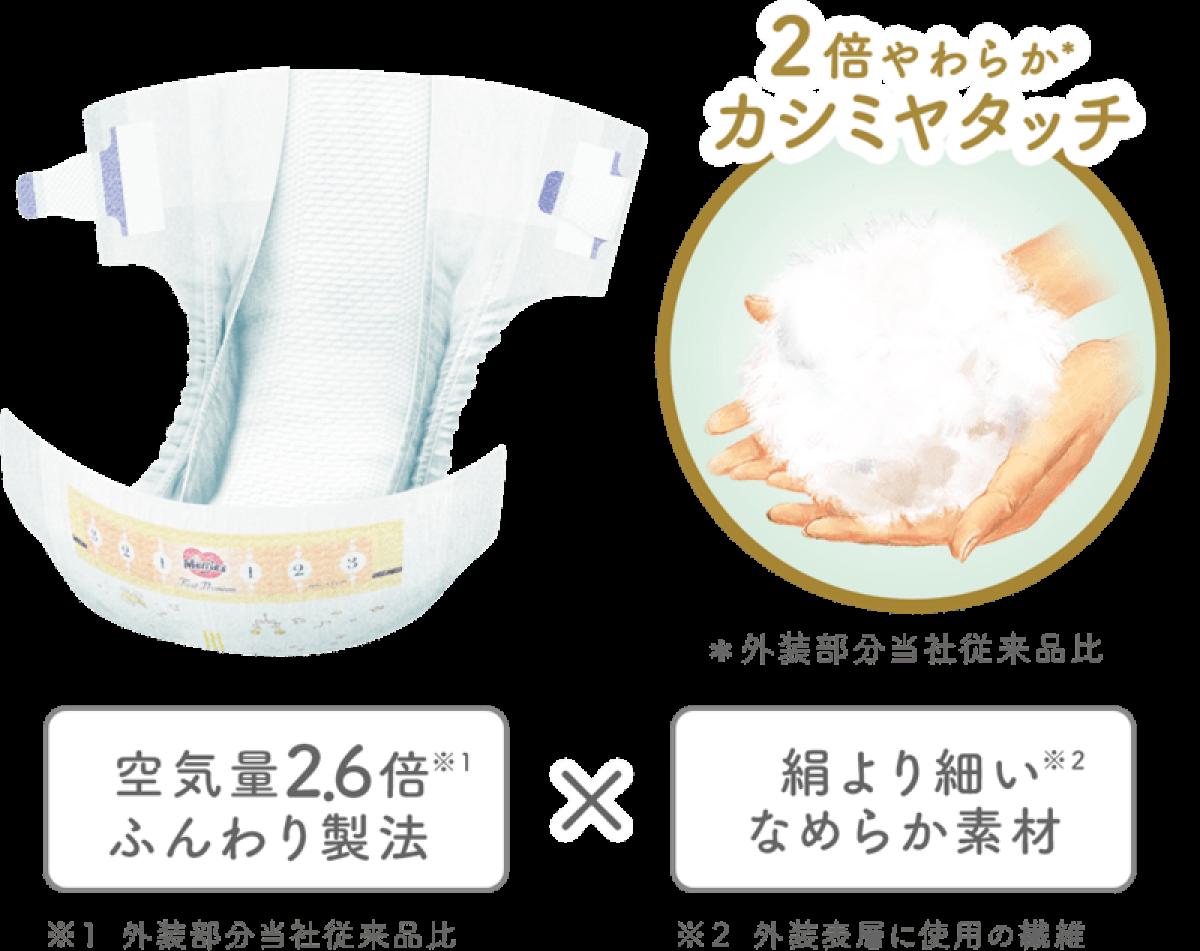 Japanese Diapers Merries Premium, NB, 0-5 kg, 66 pcs.